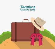 Vacations paradisiac island with suitcase hat flip flop sand Royalty Free Stock Image