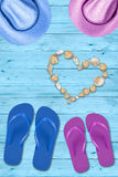 Vacations and relax. Beach holidays, seashells heart and love Royalty Free Stock Images