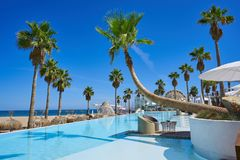 Vacations resort with pool and palm trees. In Mediterranean beach Stock Photography