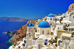 Vacations in Santorini stock photo