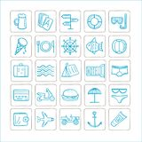 Vacations - set of icons. Vector graphics. Blue-silver color. vector illustration