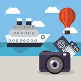 Vacations ship airoon tickets passport concept Royalty Free Stock Photo