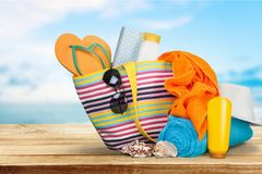 Vacations, Summer, Beach Bag Royalty Free Stock Photography