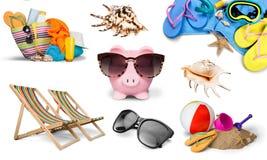 Vacations. Summer beach bag sunglasses isolated fun suntan lotion stock photos
