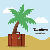 vacations summer time beach suitcase palm Royalty Free Stock Image