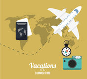 vacations summer time concept poster Stock Photos