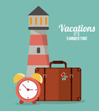 vacations summer time - lighthouse suitcase clock Royalty Free Stock Photos