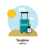vacations summer time suitcase with compass beach Stock Photos