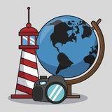 Vacations and travel. Elements cartoons vector illustration graphic design Stock Photography
