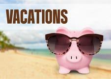 Vacations. Piggy bank beach pension savings coin bank treasure stock images