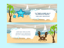 Vacations web header or banner design. Best vacations or holidays banner or website header set Stock Photography