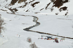 Vacations in the winter Pyrenees Stock Images