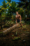 Vacations. Young man on vacations training a palm tree Royalty Free Stock Photography