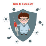 Vaccination concept poster. Vaccination and health concept. Illustration of a doctor with a syringe in his hand. Medical immunization, patient healthcare Stock Photo