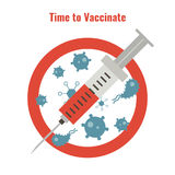 Vaccination concept poster. Vaccination and health concept. Illustration of a syringe and anti bacteria sign. Medical immunization, patient healthcare Royalty Free Stock Photography