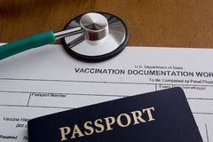 Vaccination Documentation Worksheet. Vaccination Documentation sheet for filling in the performance of vaccination royalty free stock photo
