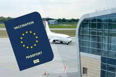 Free Vaccination Passport Passport, On The Background Of The Plane. For People Vaccinated From COVID-19. For Business And Travel In The Royalty Free Stock Images - 213868929