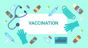 Vaccination Poster Medical Immunization Concept Clinic Healthcare Protection. Flat Vector Illustration Royalty Free Stock Photo