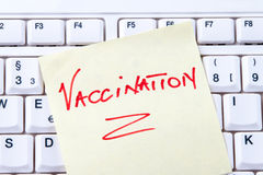 Vaccination Reminder on Keyboard Royalty Free Stock Image