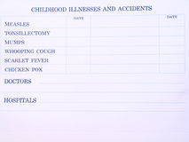 Vaccination Sheet Royalty Free Stock Images
