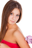 Vaccination of young woman Stock Photo