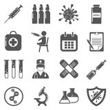 Vaccinations vector black icons set Stock Image