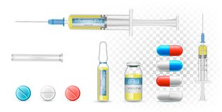 Vaccine influenza flu in a syringe. Vector Realistic pharmaceutical capsules, transparent bottle and ampoule. royalty free illustration