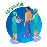 Vaccine Injection Circle Background. Vaccination isometric background with human characters of medical attentants giving jab to male patient with text vector royalty free illustration