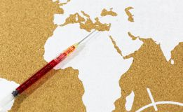 Vaccine with the map of Africa royalty free stock images