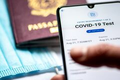Free Vaccine Passport App Displayed An A Smartphone With Passport Or Visa And Face Mask Royalty Free Stock Photography - 209981247