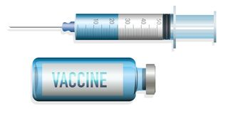 Vaccination concept to stop an epidemic, with a syringe and serum royalty free illustration