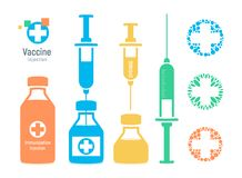 Vaccine vial and syringe, infographic elements. Injection vaccination logo, vector illustration. Vaccine vial and syringe, infographic elements. Injection Royalty Free Stock Images