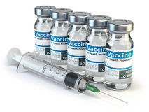 Vaccine in vials and syringe  on white background. 3d illustration Stock Image