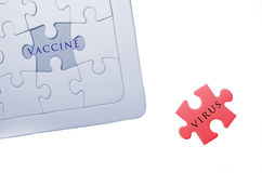 Vaccine, virus word write on puzzle, jigsaw Royalty Free Stock Photography