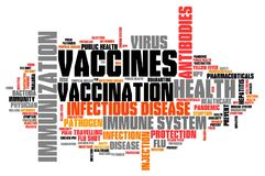 Vaccines. And immunization - health care concept. Word cloud sign Royalty Free Stock Image
