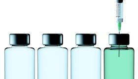 Vaccino, campagna di protezione, salute Malattie e cure rappresentazione 3d Siringa e soluzione in bottiglia illustrazione vettoriale