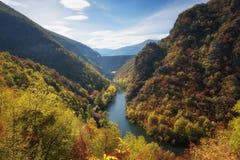 Vacha Antonivanovtsy水库, Rhodopes山,保加利亚河曲惊人的秋天风景  库存图片