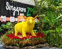 Vache à fleur dans le zoo de Singapour Image stock