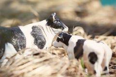 vache à jouet avec le veau photographié sur la rue avec une barrière des branches photographie stock