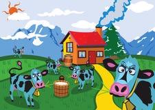 Vache à la ferme Photo stock