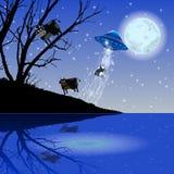 Vache à vol d'UFO d'abduction Illustration Images libres de droits