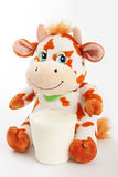 Vache avec du lait. Photographie stock