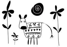 Vache avec l'illustration de vecteur de fleurs Photos stock