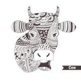 Vache avec une cloche Image stock