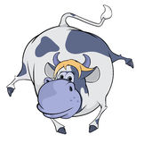 Vache bleue heureuse cartoon Photos stock