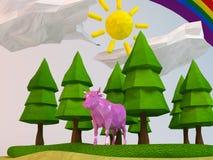 vache 3d à l'intérieur d'une bas-poly scène verte Images stock