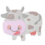 Vache effectuée à partir du papercraft de tissu Image libre de droits