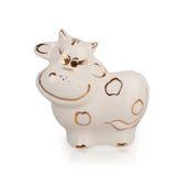 Vache en céramique blanche Photo libre de droits