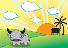 Vache et ferme Photos libres de droits