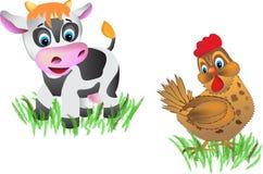 Vache et poulet Photo stock